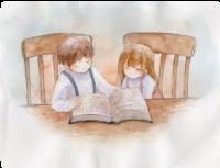 聖書を読む男の子と女の子の水彩画イラスト-ザプレイズ(ThePraise)