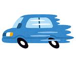猛スピードで走る青い車のイラスト(ザプレイズのこれまでのあゆみ)