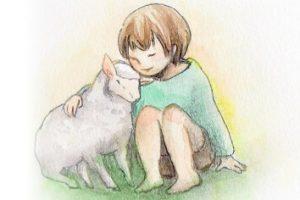 The Praise(ザ・プレイズ)詩画~一日終わればまる~可愛い羊と男の子の水彩イラスト