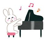うさぎがピアノを弾いているイラスト(ザプレイズのこれまでのあゆみ)